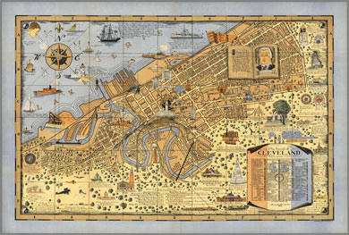 The Heart of Cleveland, Ohio Pictorial Map 1928