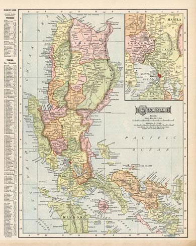 Luzon Island (with an inset map of the Vicinity of Manila) 1905