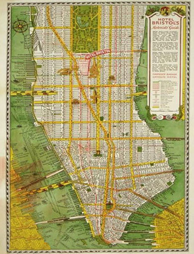 Map of New York. Hotel Bristol 1944