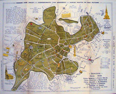 Two Picture Story Maps of Boston 1940