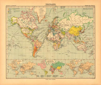 World Map in Mercator's Projection 1921