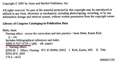 ISBN on Copyright Page