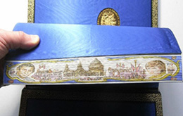 Debrett's Book of the Royal Wedding, fanned to show the hidden painting on the page edges