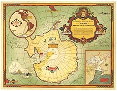 Authorized Map of the Second Byrd Expedition - Antarctica - 1934