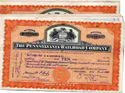 Collection of stock certificates from the Pennsylvania Railroad Company