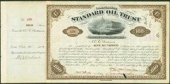 Printed Stock Certificate of Standard Oil Trust