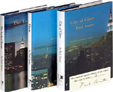 Lettered set of the New York Trilogy by Paul Auster: City of Glass, Ghosts, and The Locked Room