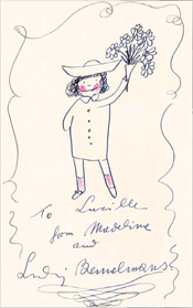 Colored, signed drawing of Madeline by Bemelmans