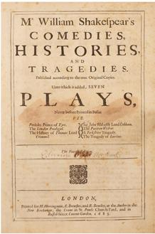 Comedies, Histories, and Tragedies (Fourth Folio) by William Shakespeare - Title Page