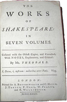 The Works of Mr. William Shakespeare in Seven Volumes edited by Lewis Theobald