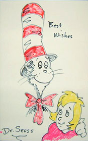 Cat in the Hat Original Signed Drawing by Dr. Seuss