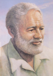 A painting of Ernest Hemingway