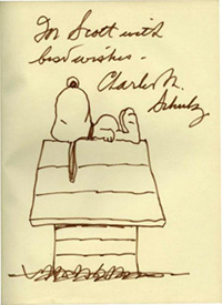 Copy of The Peanuts Gang with signed drawing of Snoopy by Charles M. Schulz