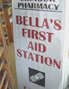 Bella's First Aid Station in the window of a pharmacy in Forks, Washington