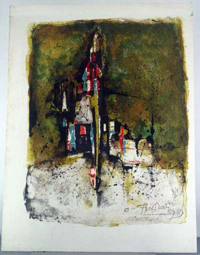 Original untitled abstract lithograph by Johnny Friedlaender