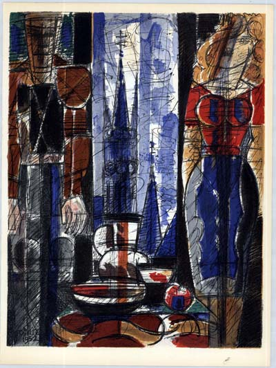 Interieur Flamand by Marcel Gromaire, unsigned Lithograph printed in 1953