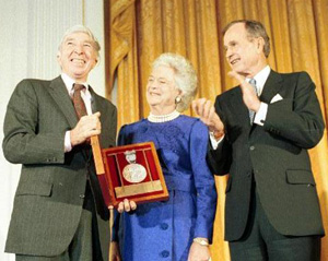 John Updike with George and Barbara Bush