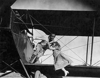 Updated photo of an early airplane stunt