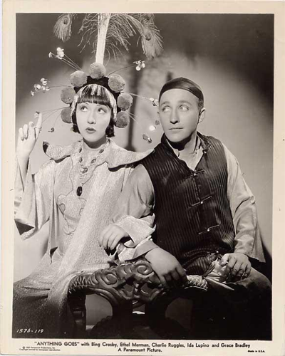 One of three stills from the 1936 film Anything Goes starring Ethel Merman and Bing Crosby.