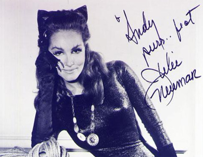 Inscribed and Signed Portrait of Julie Newmar as Catwoman