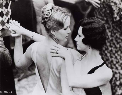 Still of Stefania Sandrelli and Dominique Sandra dancing from the 1970 film The Conformist.