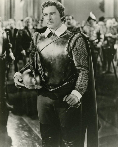 Still photograph of Errol Flynn from the 194 UK release of the film The Sea Hawk - a movie about swashbuckling pirates who fall in love.