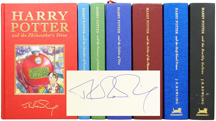 Image of the deluxe set of the Harry Potter series, signed by JK Rowling